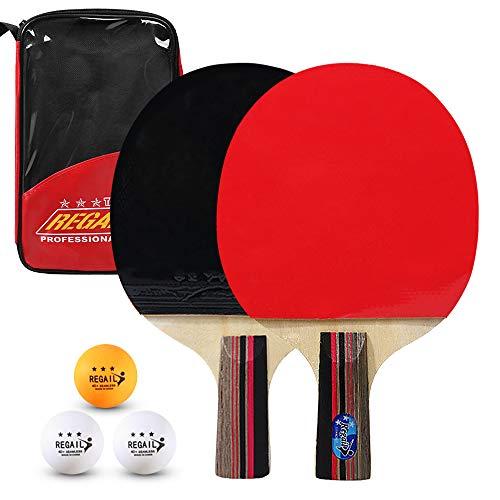 Lixada Juego de Raquetas de Tenis de Mesa 2 Piezas + Bolsa de Almacenamiento + 3 Pelotas de Interior y Exterior