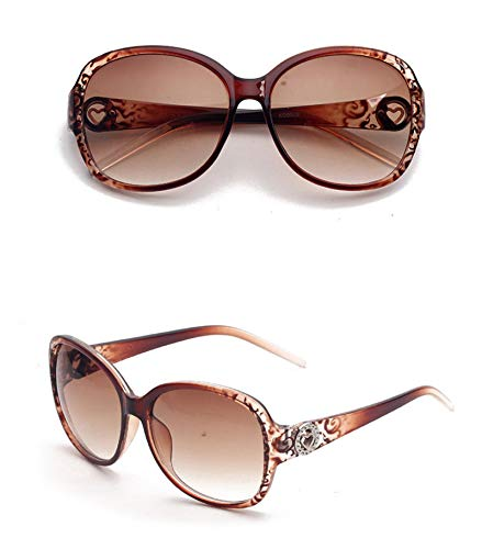 AmDxD Damen Polarisierte Sonnenbrille   Linse aus Harz   Hohl Rund Herz Vollrand Mode Brille UV400 Schutz   Für Autofahren, Wandern, Sport - Braun