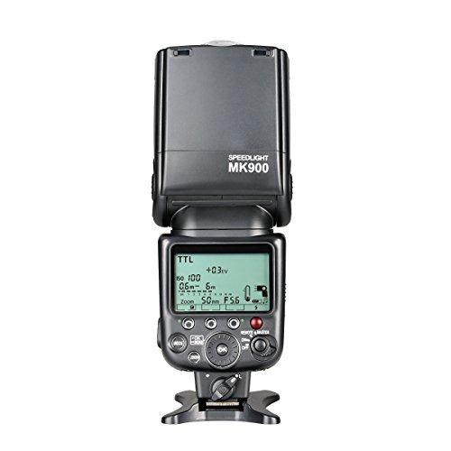 Meike Speedlite MK900 - Kit de Flash con Soporte y Funda Protectora para Nikon, Negro
