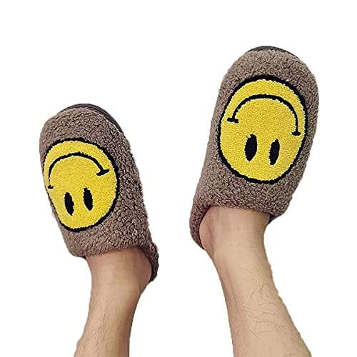 PNDGMCSY Smiley Face Slippers - Retro Smiley Face Soft Plush Comfy Warm Slip-on Slippers - Open Toe Fluffy Cute Smiley Face Slippers (41-42,F)