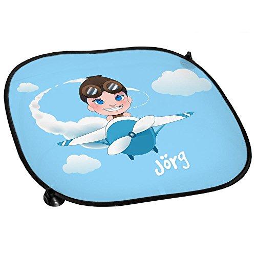 Auto-Sonnenschutz mit Namen Jörg und schönem Motiv mit Pilot und Flugzeug für Jungen | Auto-Blendschutz | Sonnenblende | Sichtschutz
