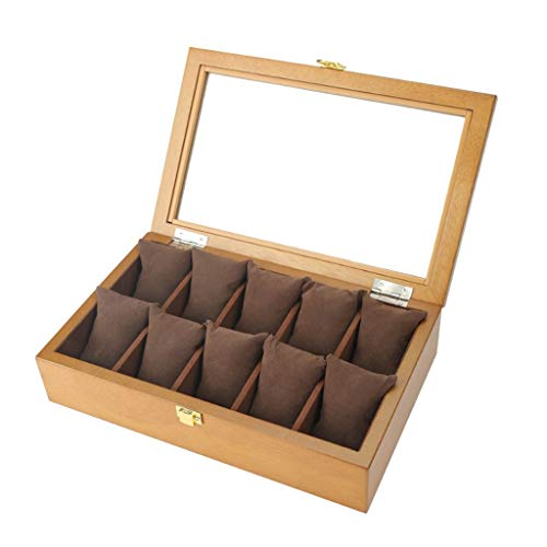 WY-scatola di orologio Aufbewahrungsbox für Uhren aus Holz mit Schloss/Handschuh/Polso für Herren oder Frau große Brillen aus Glas mit Tasche für Schmuck - 10 Slot für Uhren (Futter braun/Futter schwarz) braun