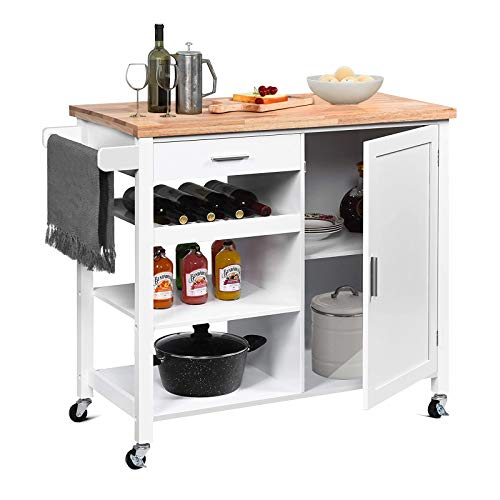 QCen Kitchen Island Cart White Kitchen Rolling Microwave Cart with Storage Wood Cabinet Handle Rack Drawer, Home Style 41.3L x 18.9W x 35H