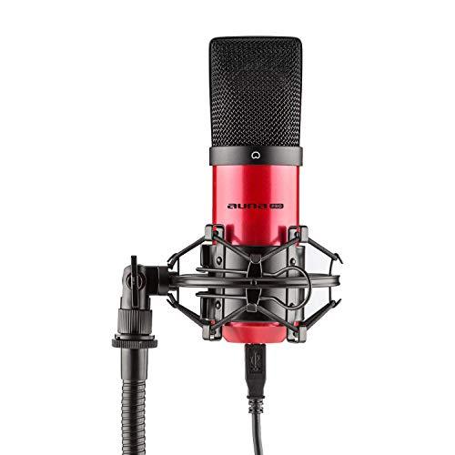 AUNA MIC-900-RD micrófono de condensador USB (Plug & Play compatible PC y Mac, soporte de araña, cable USB, iluminación LED) - Rojo