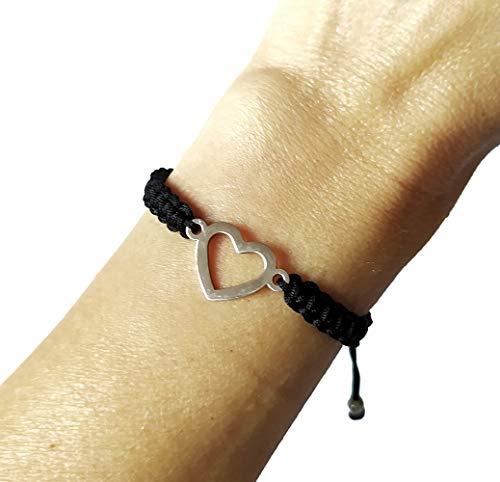 Pulsera corazón de acero inoxidable, pulsera mujer acero, Pulsera ajustable, regalo original