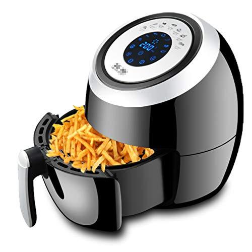 デジタルタッチスクリーンエアフライヤーオーブン、家庭用エアフライヤー5.5L、油を使わないフライ調理ヘルシークッキングベーキング&グリル用,Black