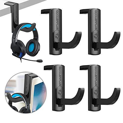 Coolerplus PC Gaming Headset Headphone Hook Holder Hanger Mount,4 Packs for Headset Stick on Monitor Stand, PC, Desktop