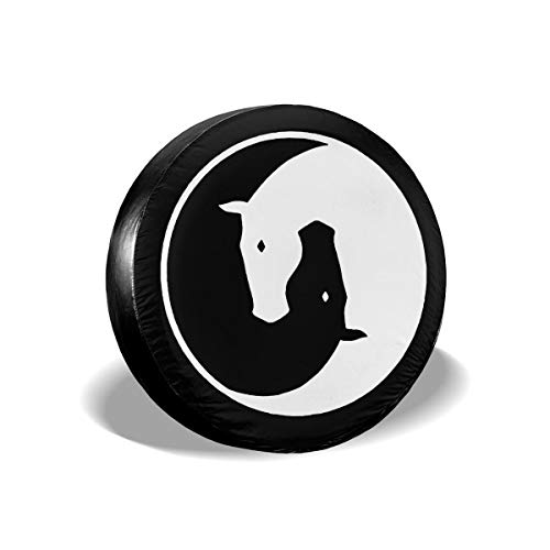 A1LZ-TS3 Sports Fan Tire Covers Yin Yang Horses Universal Spare Wheel Tire Cover Fit for Trailer,RV,SUV and Many Vehicle 15 Inch