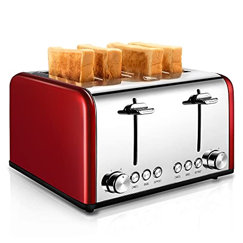 4 Slice Toaster, CUSIBOX Stainless Steel Toaster with...