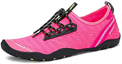 Mens Womens Barefoot Water Shoes Swim Aqua Sports Pink-Rose 7 M US Women / 6 M US Men (38)