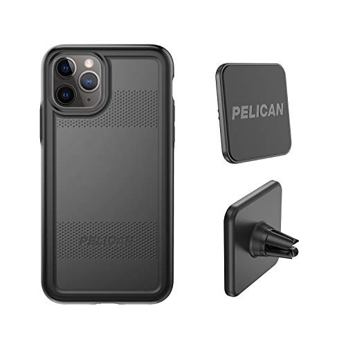 Pelican iPhone 11 Pro Case, Protector Series - Military Grade Drop Tested, TPU, Polycarbonate Protective Case for Apple iPhone 11 Pro - with EMS Car Vent Mount (Black)