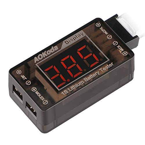 AOK-041 1S LiPo Battery Voltage Checker Tester for Tiny Whoop Blade Inductrix Quadcopter with Micro JST 1.25 JST-PH 2.0 Micro Losi and JST Connector