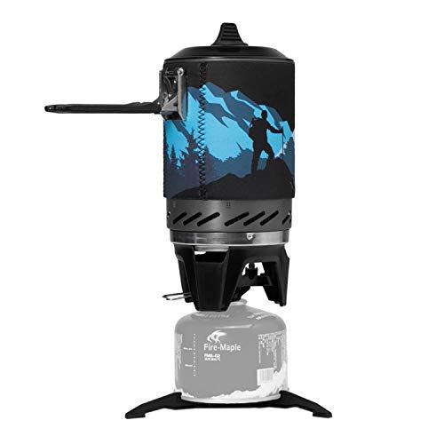 Fire-Maple Sistema di Stufa Fornello da Campeggio a Gas Portatile 1000ml Supporto per Pentole per Attività all'aperto Fornello a Gas Propano Antivento Star X2 Nero