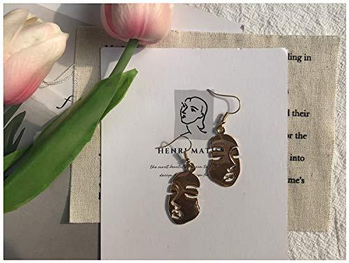 Chwewxi Pendientes Simples de Temperamento Mujer Cara árbol de Coco corazón círculo Grande aretes Ventilador Viento frío Clip de Oreja, par de Gancho de Oreja Metal Cara M3
