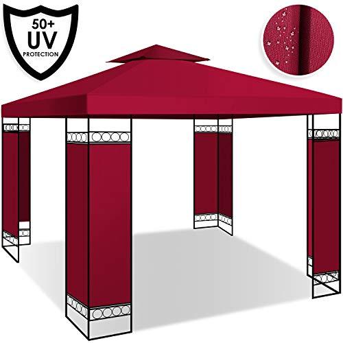 Kesser® - Pavillon 3x3m wasserabweisend UV-Schutz 50+ Metall Gestell Partyzelt Gartenzelt Gartenpavillon 9m² Festzelt, Rot