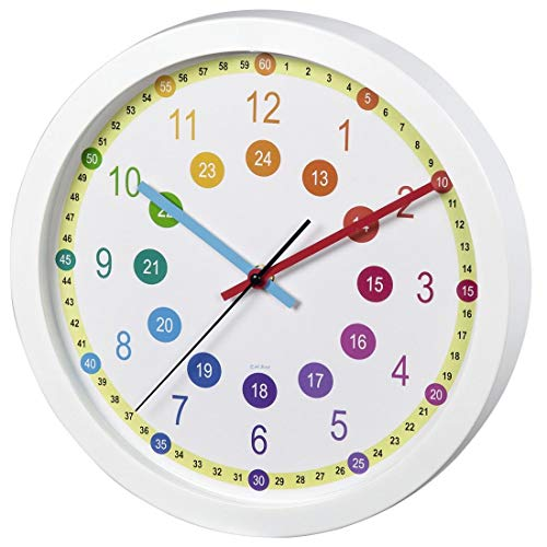 Hama Easy Learning Kinder-Wanduhr, Glas, Kunststoff, weiß, One Size