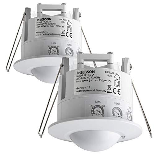 SEBSON 2X Detector de Movimiento para Interiores, Montaje Empotrado en Techo, LED Adecuado, programable, HF Sensor, Alcance 2-16m / 360°, Luces 1200W / 300W