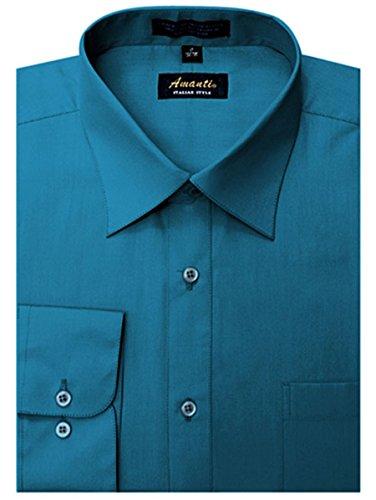Amanti Men's Classic Dress Shirt Convertible Cuff Solid (Neck Size:15 1/2; Sleeve Length :32/33, Ocean Blue)