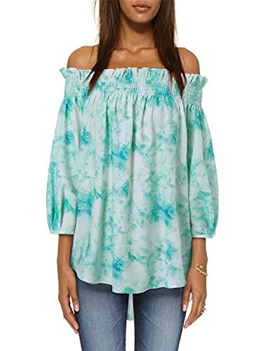 ZANZEA Blusas Mujer Camisas Verano Estampado étnico Vendaje Linterna Volantes Hombro Ajuste Elástico Asimétrico Suelto Túnicas T-Shirt Tops E-Verde XL