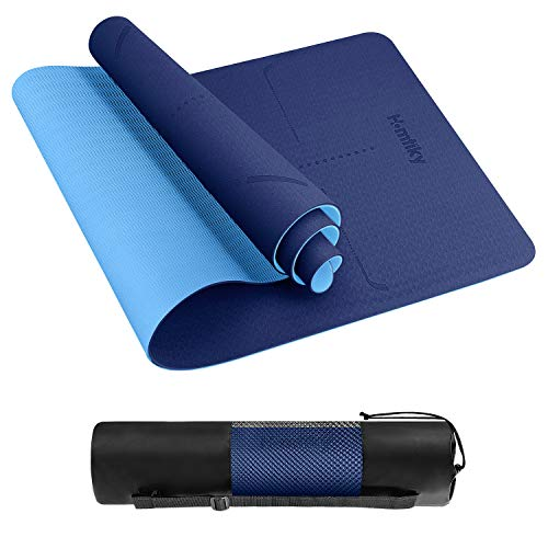 Homtiky Yoga Mat Exercise Fitness Mat, Non-Slip TPE Yoga Mat with Alignment Lines, 1/4 inch Eco Friendly Workout Mat with Carrying Strap for Yoga Blue