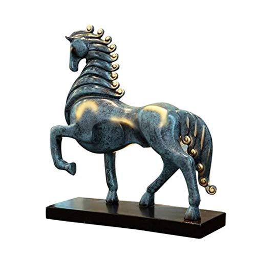 XLEVE Home Decoration Horse Statue,Resin Crafts Wine Cabinet Desk Decoration Collectible,Horse Sculpture Bronze Color Mustang Stallion Statues