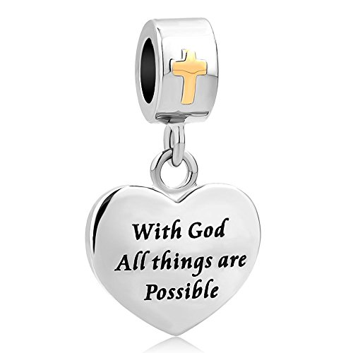 LovelyCharms Cross Charm with God All Things are Possible Religious Dangle Bead Fits European Bracelets (Heart)