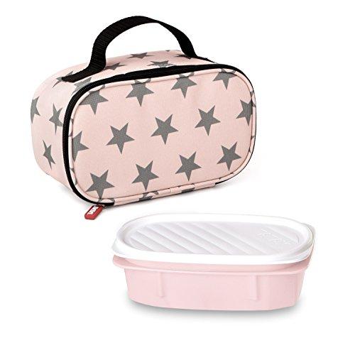 Tatay Urban Food Casual Mini Bolsa Térmica Porta Alimentos, 1.5L de Capacidad, con 1 Tupper Hermético de 0.5L de Plástico Libre de BPA, Color Rosa con Estrellas. Medidas 21.5 x 9 x 12 cm