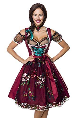 Midi Dirndl Set Tracht Trachtenkleid Dirndl-Kleid Wiesn Oktoberfest Bluse 36-46 Rot/Schwarz M (38)