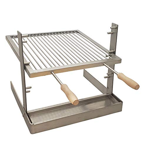 SpitJack Portable Camping Grill. Cook Over a Fireplace or Campfire with an All SS Argentine Santa Maria Cooking Grate and Drip Pan. 18 X 17 Inch Grill
