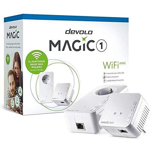 Oferta de devolo Magic 1 – 1200 WiFi mini Starter Kit: Set compacto con 2adaptadores WiFi Powerline para una red doméstica segura (1200Mbit/s, 1 x conexión Fast Ethernet LAN, WiFi de malla, tecnología G.hn)