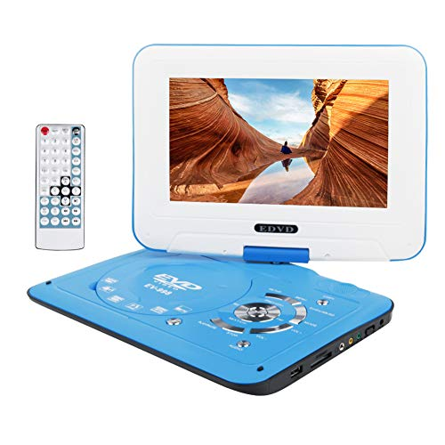 "Smyidel 9.8"" Portable DVD Player Supports SD Card/USB Port/CD/DVD, Rede Controller,2 Hour Rechargeable Battery, 9"" Eye-Protective Screen, Support AV-in/Out,Region Free (Blue)"