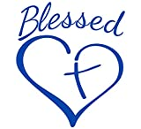 Blessed Cross and Heart Christian Decal Vinyl Sticker|Cars Trucks Vans Walls Laptop (5.5 x 4.5 in, Royal Blue)