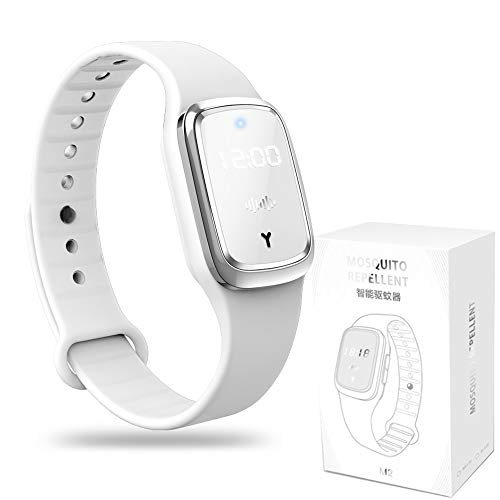 Mosquito Repellent Watch, Time Monitor, Electronic Wristband with Ultrasonic Without Chemical Composition. Natural Non-Toxic and Pollution-Free, Waterproof/ Rechargeable_White