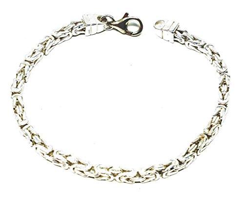 Königsarmband 925 Silber 4 mm 22 cm Silber-Armband Damen Herren-Armband Herren-Schmuck ab Fabrik tendenze Italy D-BZ4-22v