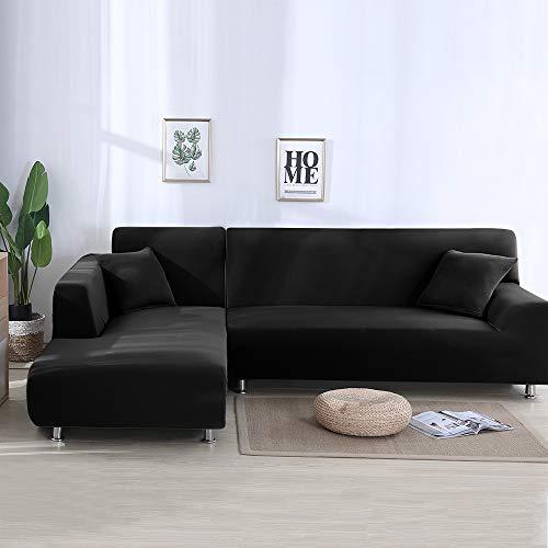 PandaHug Sofabezug, L-Form, Sofa-Schonbezug, Haustierschutz, rutschfest, fleckenabweisend, Maschinenwäsche, Möbelschutz, moderne Ecksofabezüge, Schwarz , Three Seaters+Three Seaters