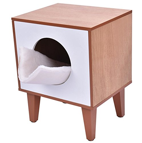 Auténtico Wooden Cat Kitty Kittens Pet Box Litter Boxes Hidden Enclosure Cabinet Home Furniture Soft Flannelette Cushion Clean Bed Fits in The Corner Perfect Place