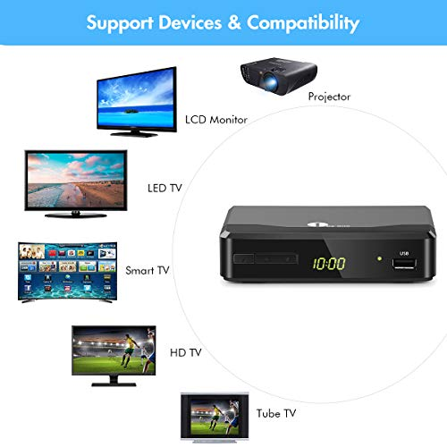 1byone ATSC Digital Converter Box for Analog TV, Analog TV Converter Box with Record and Pause Live TV, Remote Control, HDTV Set Top Box for 1080p(New Version)-Black