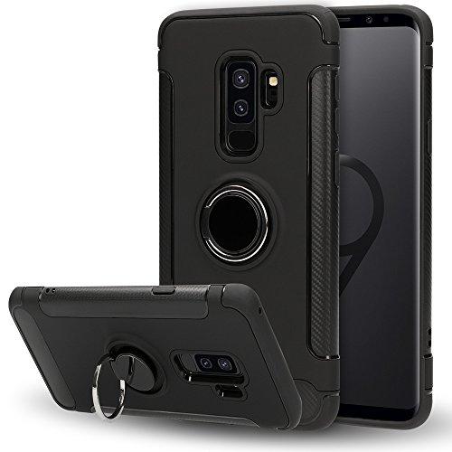 NALIA ring telefoonhoes compatibel met Samsung Galaxy S9 Plus, beschermcover compatibel met magnetische autohouder met 360 graden vingerhouder, dunne standaard hardcase, slim etui bumper