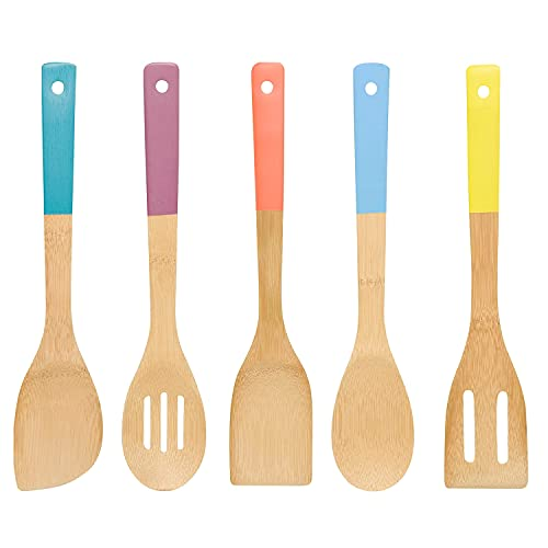 Natural Kitchen Utensil Set Bamboo Wooden Spoons,Wooden Spoons for cooking Bamboo Utensil Set Nonstick Premium Quality Housewarming Gifts 12 Inches with Multi-color Handles