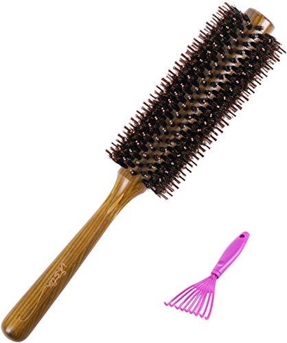 Vista Spazzola Tonda per Capelli con Spazzola Setole Naturali cepillo de pelo de madera para masajes a escala, secado, peinado para mujeres, hombres, niños