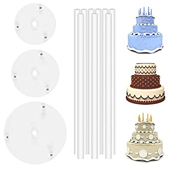 DOERDO 3 Tier Cake Separators Plates and 9 Pieces Plastic Cake Dowel Rods Set for Tiered Cake Construction and Stacking 12cm,16cm,18cm