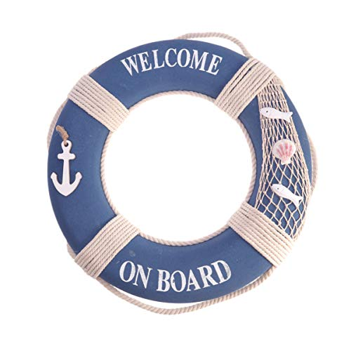 Amosfun Welcome Cloth Decorative Life Ring Rustic Nautical Welcome Aboard Ring Buoy Hanging Ornament For Home Shop Bar Wall Door 50cm (Dark Blue)