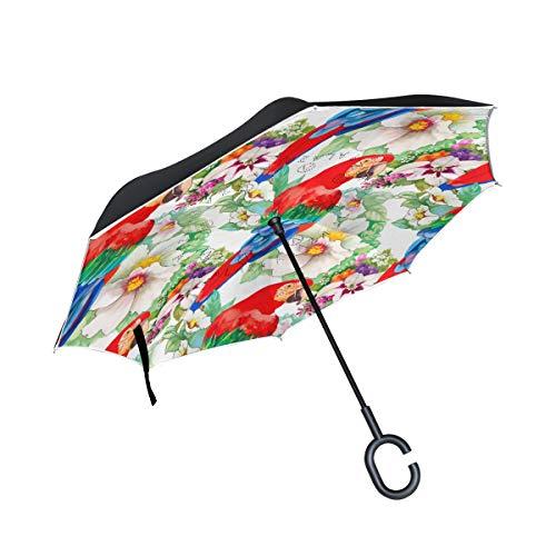 MALPLENA Karotten-Malvorlage Auto Regenschirm auf den Kopf Reverse Inverted Umbrellas für Frauen/Männer/Auto/Regen im Freien wasserdicht Winddicht