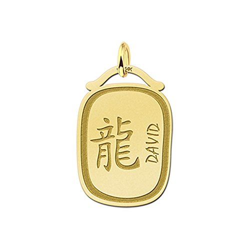 Namesforever hanger Chinese sterrenbeeld draak van goud met naamgravure