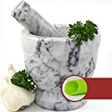 Mortar and Pestle Set - Polished White and Grey Marble Bowl with Bonus Garlic Peeler | Great for Guacamole! | 1.5 Cup Capacity. Protective Pad for Stability and Protected Counters