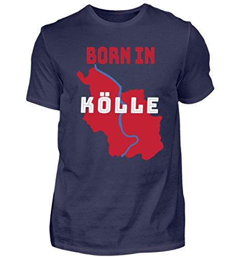 Maglietta da uomo 'Born in Köllele' con orgoglio su Colonia sulla città del Rhein blu scuro S
