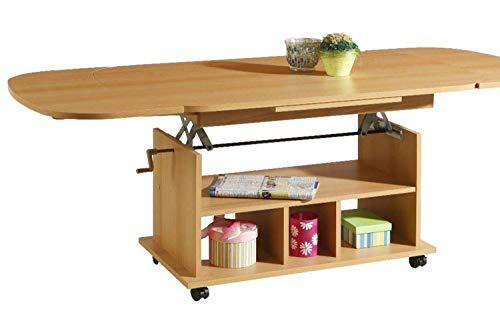 madera Couchtisch höhenverstellbar ausziehbar mit Rollen | Buche Nachbildung