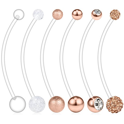 Ruifan 6PCS Mix Style Pregnancy Sport Maternity Flexible Bioplast Belly Navel Button Ring Retainer 14G 1 1/2Inch (38mm) - Rose Gold