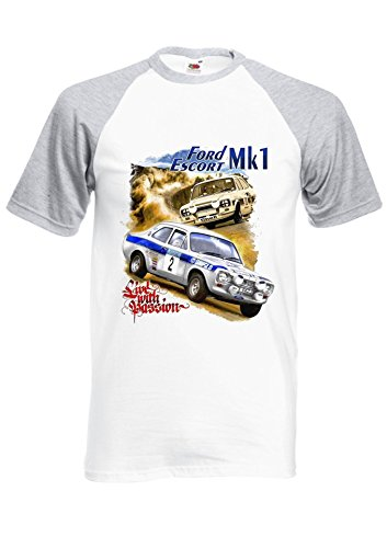 Mk1 Ford Escort Rs2000 Mexico Rally Scene Royal Sports Grey/White Men Women Unisex Shirt Sleeve Baseball T Shirt-L