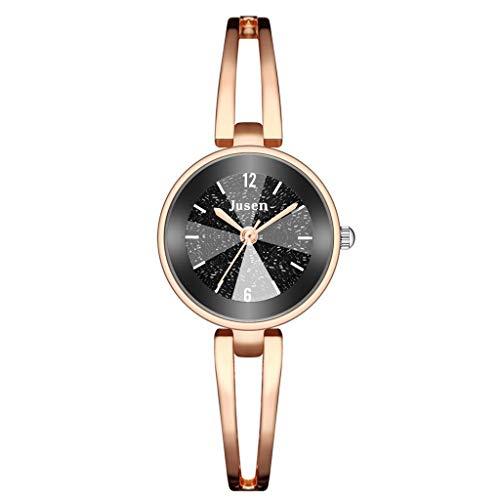 JZDH Relojes para Mujer Moda Simple Star Diamond Inlaid Acero Inoxidable Pulsera para Relojes de Mujer Reloj de Cuarzo de Reloj de Pulsera de Color Relojes Decorativos Casuales para Niñas Damas